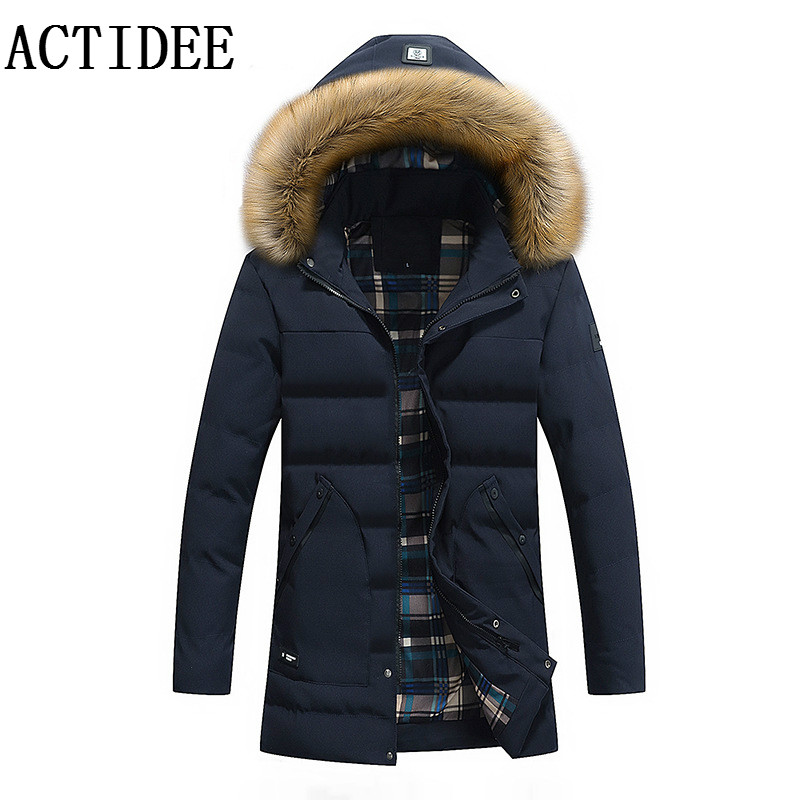 2017 Men's European American Fashion Clothing Men Long Winter Jacket Fur Collar Hood Cotton Down Winter Coats Men Parkas 3XL 2014 new european and american style high collar coat fur clothing brand men s fashion casual plaid cotton jacket