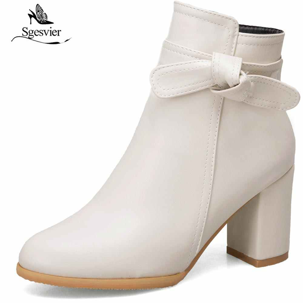 Sgesvier Sweet Lovely Beige White Black Princess Lolita Shoes Plus Size 33-52 Butterfly-knot Thick Heel Ankle Boots Winter B744