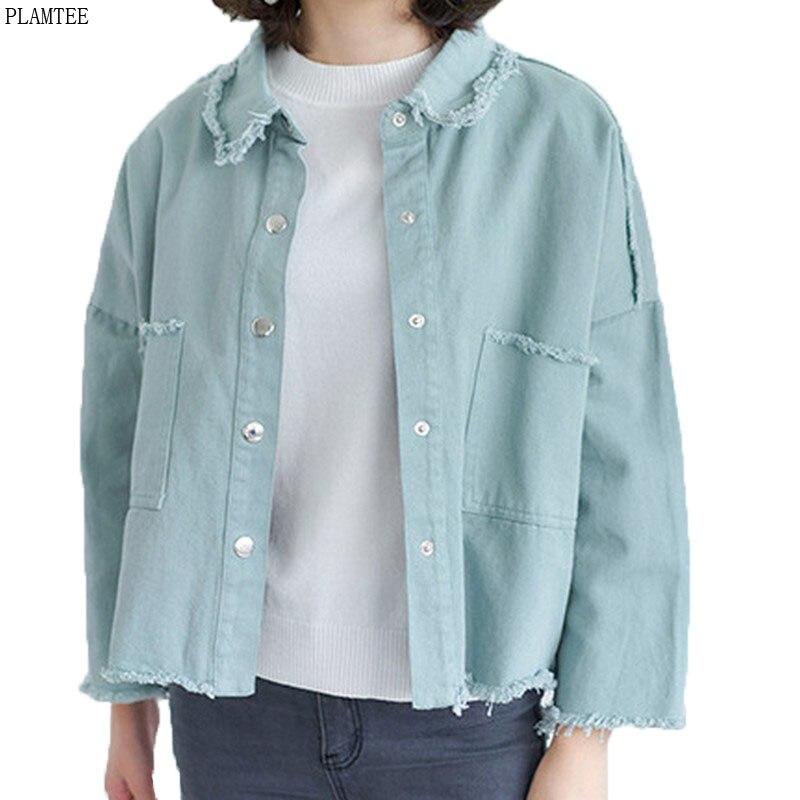 abrigos Baratos borla rebabas bf 3 denim chaqueta mujer Estilo nYYaw4q7