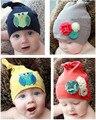 Meninos e Meninas Do Bebê de Malha Chapéus de Algodão Flor Decor Tampas Acessórios infantis crianças Hat Criança Crochet Newborn Fotografia Props