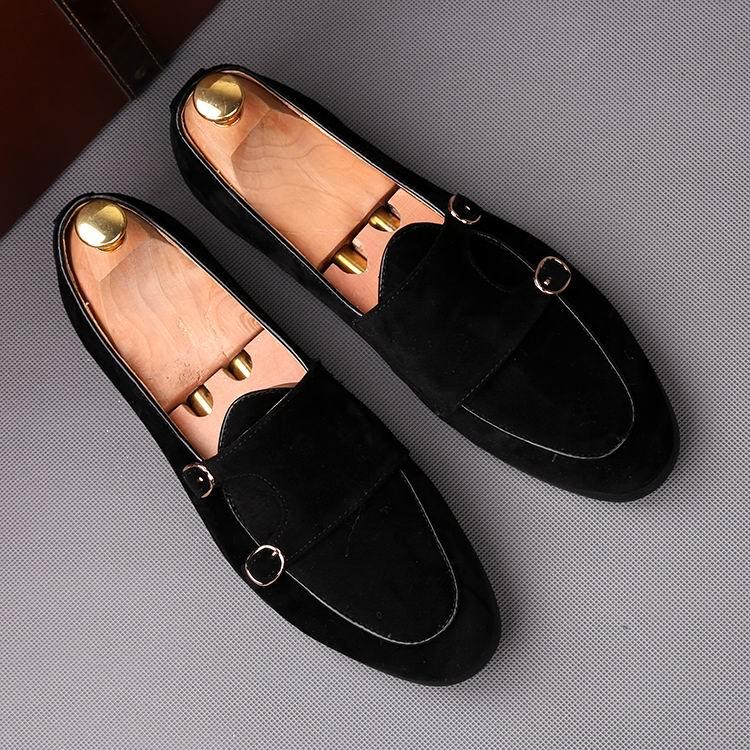 ERRFC Fashion Forward Schwarz Männer Loafer Schuhe Runde Kappe Doppel Schnalle Faux Wildleder Leder Schuhe Mann Braun Boot Schuhe 38  43-in Freizeitschuhe für Herren aus Schuhe bei  Gruppe 2