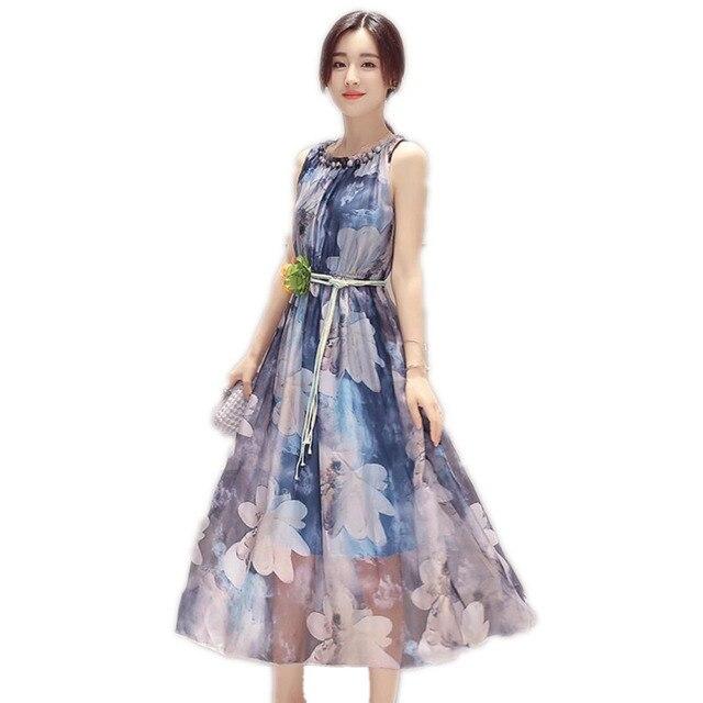 ad522e53e697276 Летнее платье 2016 Для женщин Модное шифоновое платье с цветочным рисунком  без рукавов Boho жилет печати