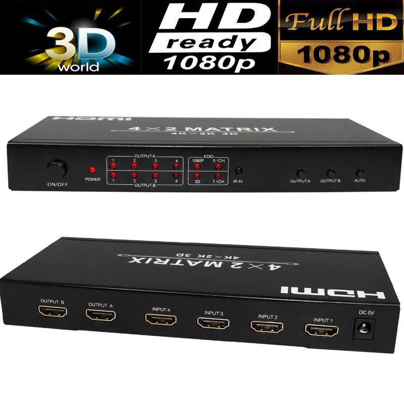 4K HDMI Matrix 4X2 with audio out HDMI Switcher splitter 4 in 2 out HDMI 1.4V 4kX2K/30HZ with IR remote control&power adapter