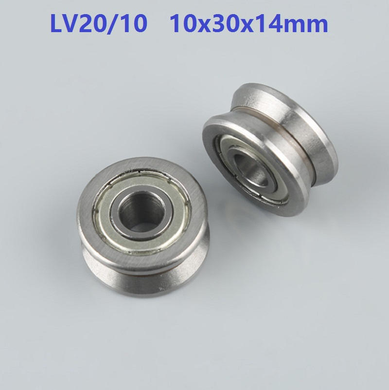 20pcs/lot LV20/10 10x30x14 mm V groove roller bearing roller wheel pulley bearing guide track 10*30*14mm-in Shafts from Home Improvement    1