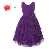 Coral Yellow Purple Ruffle Short Prom Wear Clothes Sleeveless Ball Gown Casual Chiffon Kids Wedding Summer