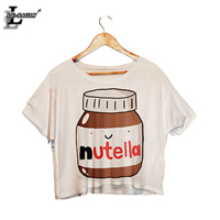 Nutella Print Crop Shirt 2015 New Hot Sale Fashion Slim Women Harajuku Tank Tops T Shirt
