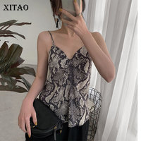 XITAO Off Shoulder Perspective Print Tank Top Women Leopard Strapless Sleeveless Camis 2019 Summer Korea Pleated New ZQ2203