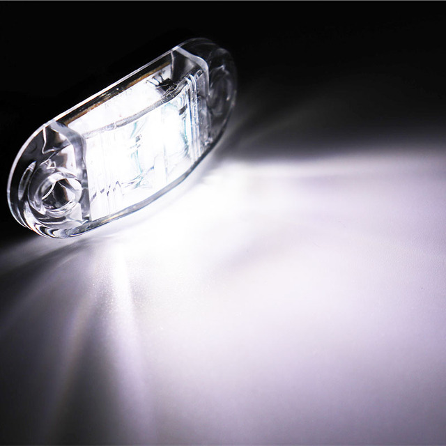 2Pcs 12V / 24V LED Side Marker Lights Car External Lights Warning Tail Light Auto Trailer Truck Lorry Lamps White color 2