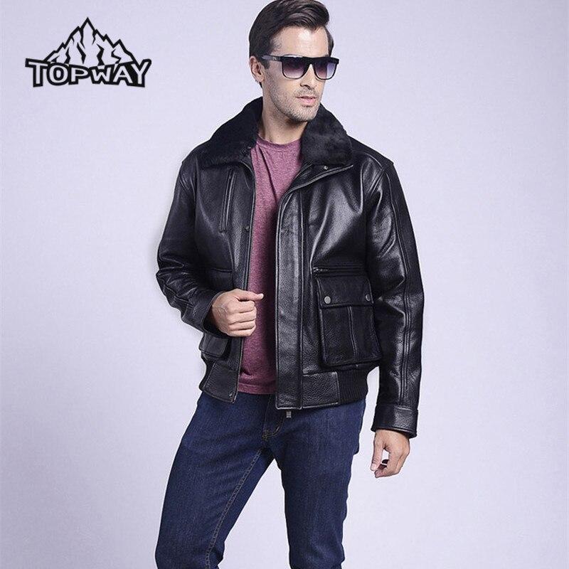 Hot Sale Handsome Air Force Bomber Cowskin Coat Locomotive Genuine Leather Jacket Men Wear Resistant Warm Chauqetas Cuero Hombre