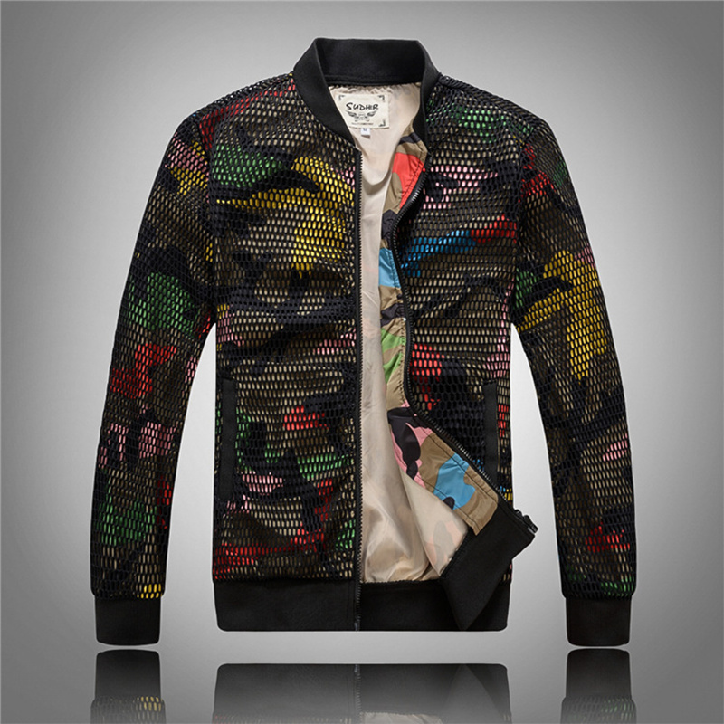 Slim Mens Stand Baseball Jacket Fashion Korean Hollow Jacket and Coat Plus Size 5xl Casual Outwear Mens Windbreaker Camouflage