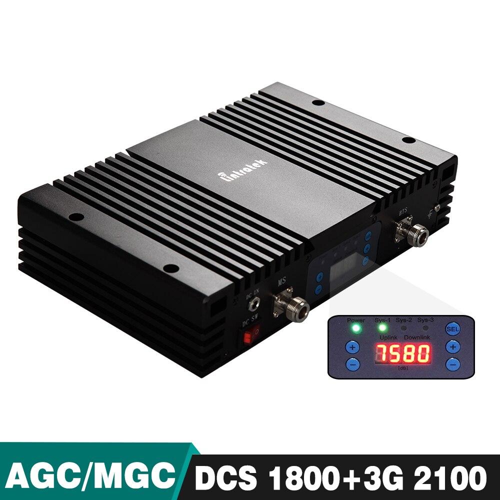 Puissant 75dB Double Bande Répéteur DCS/LTE 1800 UMTS WCDMA 2100 Cellulaire Mobile Signal Booster avec Écran lcd AGC MGC Fonction