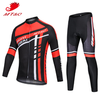 MT&C Man Cycling Jersey Set Fastest Cyclist Breathable Pro Cycling Team Clothing Quick Dry Gel Pad Spring Autumn Bike Clothes