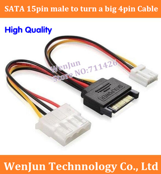 DHL Free Shipping 18AWG Cable SATA 15pin male to turn a big 4pin one small 4pin power cord / for IDE devices 15 pin to 4 pin IDE