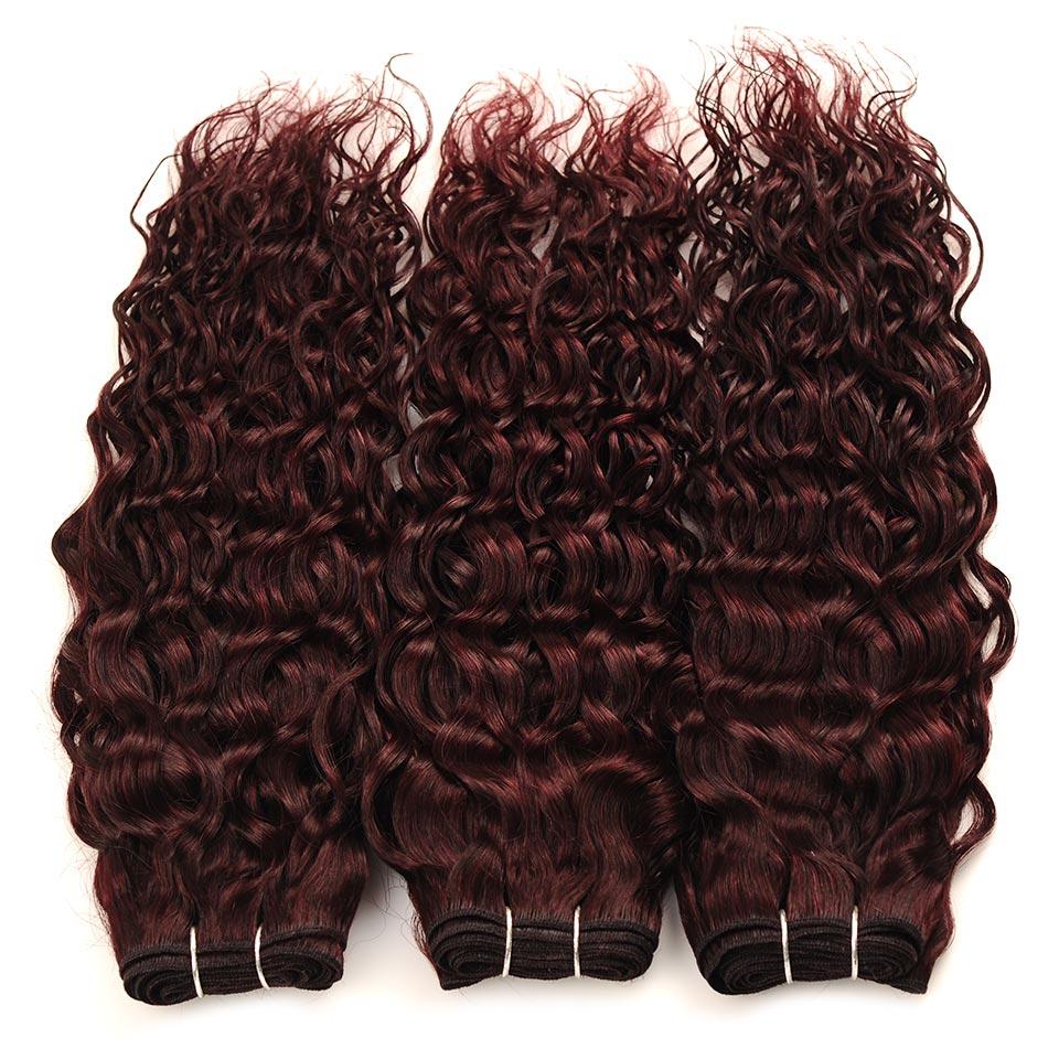 Pinshair Water Wave Hair Dark Red Peruvian 4 Bundles With Closure Burgundy Wet Wavy Non Remy Water Wave Human Hair With Closure (28)