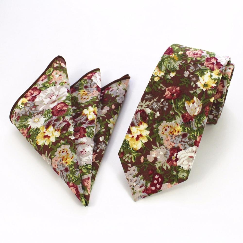 Ricnais 100% ბამბის მამაკაცები Hanky Tie აყენებს ყვავილების ბეჭდვას Paisley Necktie და ცხვირსახოცი კომპლექტი Slim Tie საქორწილო ჯიბის მოედანზე