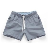 Gray-Men Beach Sport Swim Trunks Surf Swimwear Quick Drying Briefs