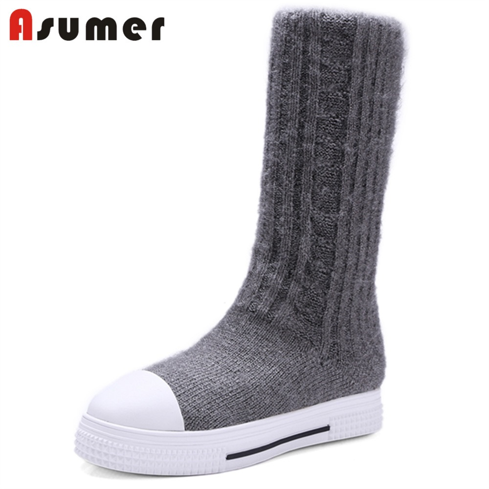 ASUMER NEW 2018 fashion flat with mid-calf boots women knitting+stretch fabric round toe slip-on boots female casual shoes