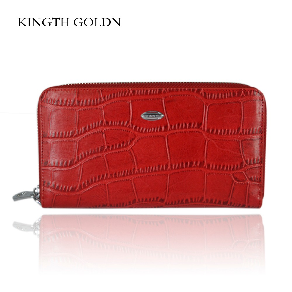 KINGTH GOLDN Women Purse Genuine Leather Wallets Ladies Long Wallet Red Black Clutch Card Holder Female Zipper Coin Bag