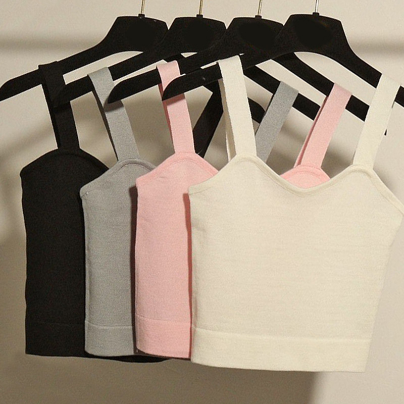 New Tank Top Summer Sexy Slim Solid Cotton Women Sleeveless Crop Top  Black White Bustier Crop Tops