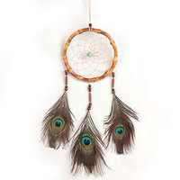 Indian Style Deam Catcher Peacock Feather Wall Hanging Decoration Ornament-25