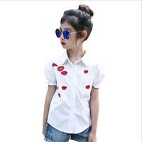 Gulugulumi Brand 2017 Baby Girls Blouse Summer Kid Short Sleeve Casual Lip Print Cute Top Shirts