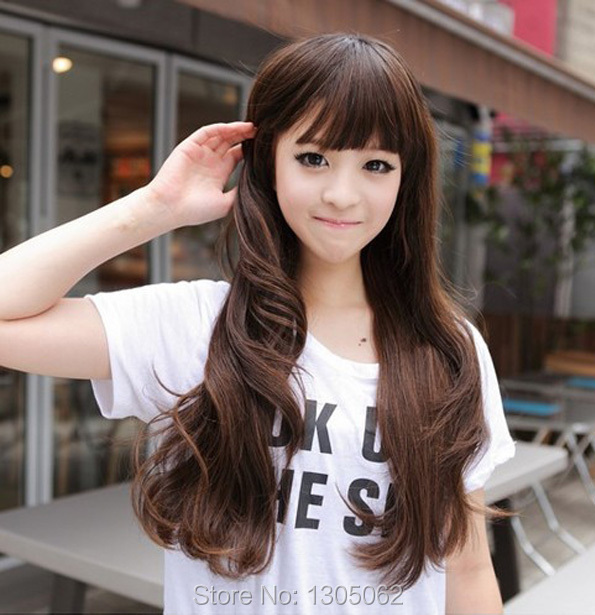 Korean girl wigs long curly fashion new style wave hair sexy lady fluffy synthetic