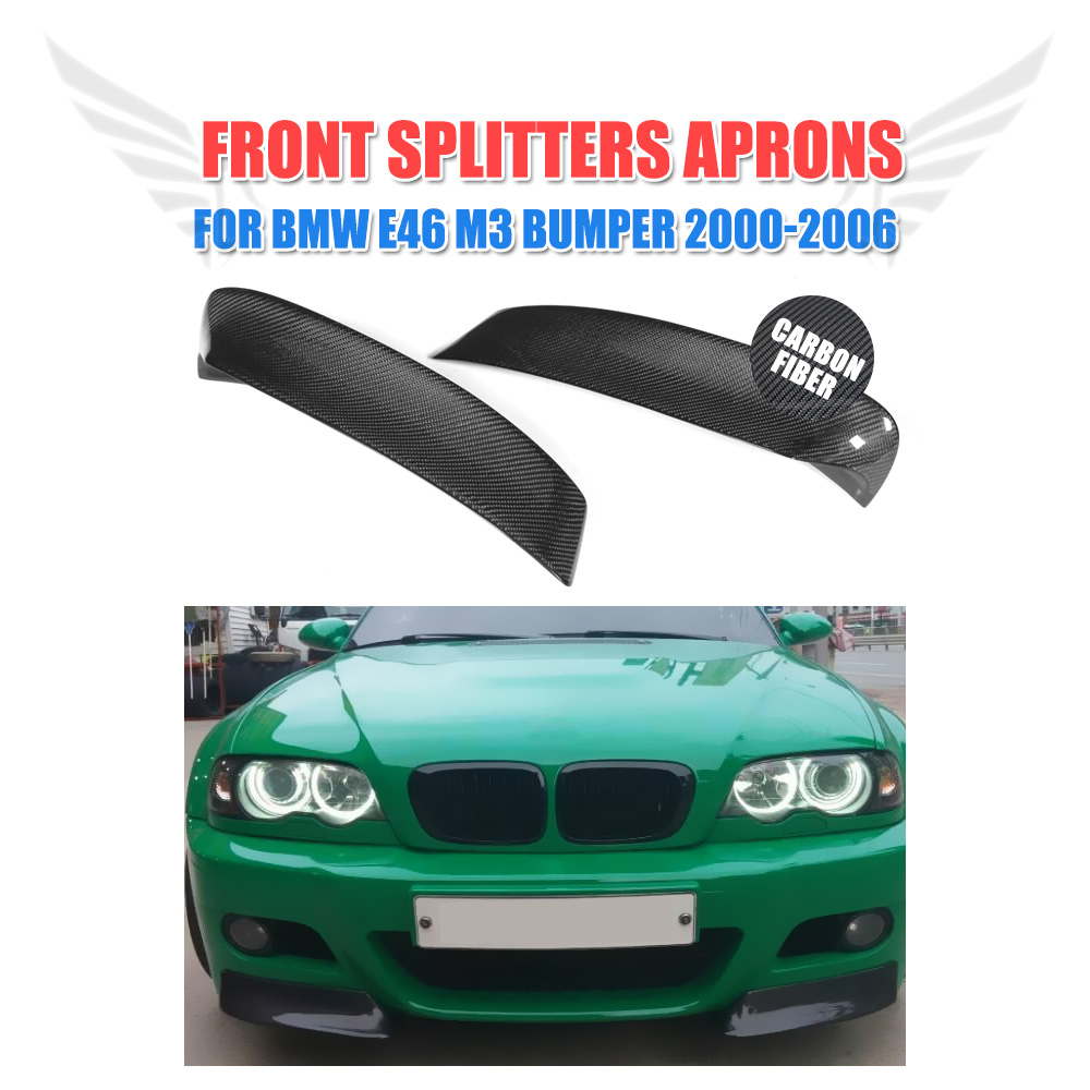 E46 Carbon Fiber Car Front Splitters Aprons For BMW E46 M3 2000-2006 Bumper Front Apron Lip Spoiler Car Tuning Part