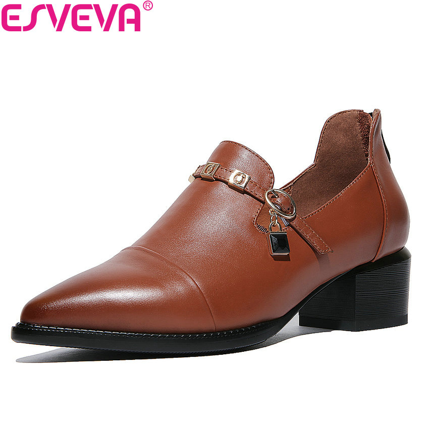 ESVEVA 2018 Women Pumps Genuine Leather  Fashion Casual Shoes British Zipper Pointed Toe Square Heel Pumps Brown Size 34-42 esveva 2018 women pumps genuine leather pu pointed toe dress shoes british style slip on square high heel pumps big size 34 42