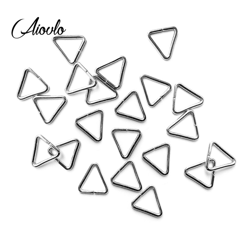Aiovlo 100pcs/lot Jewelry Making Findings Triangle Open Jump Rings & Split Rings DIY Handmade Jewelry Stainless Steel Connector