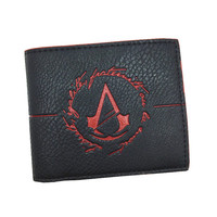 Free Shipping High Quality Genuine Leather Wallets Cool Game Assassins Creed Men Wallet With Coin Pocket