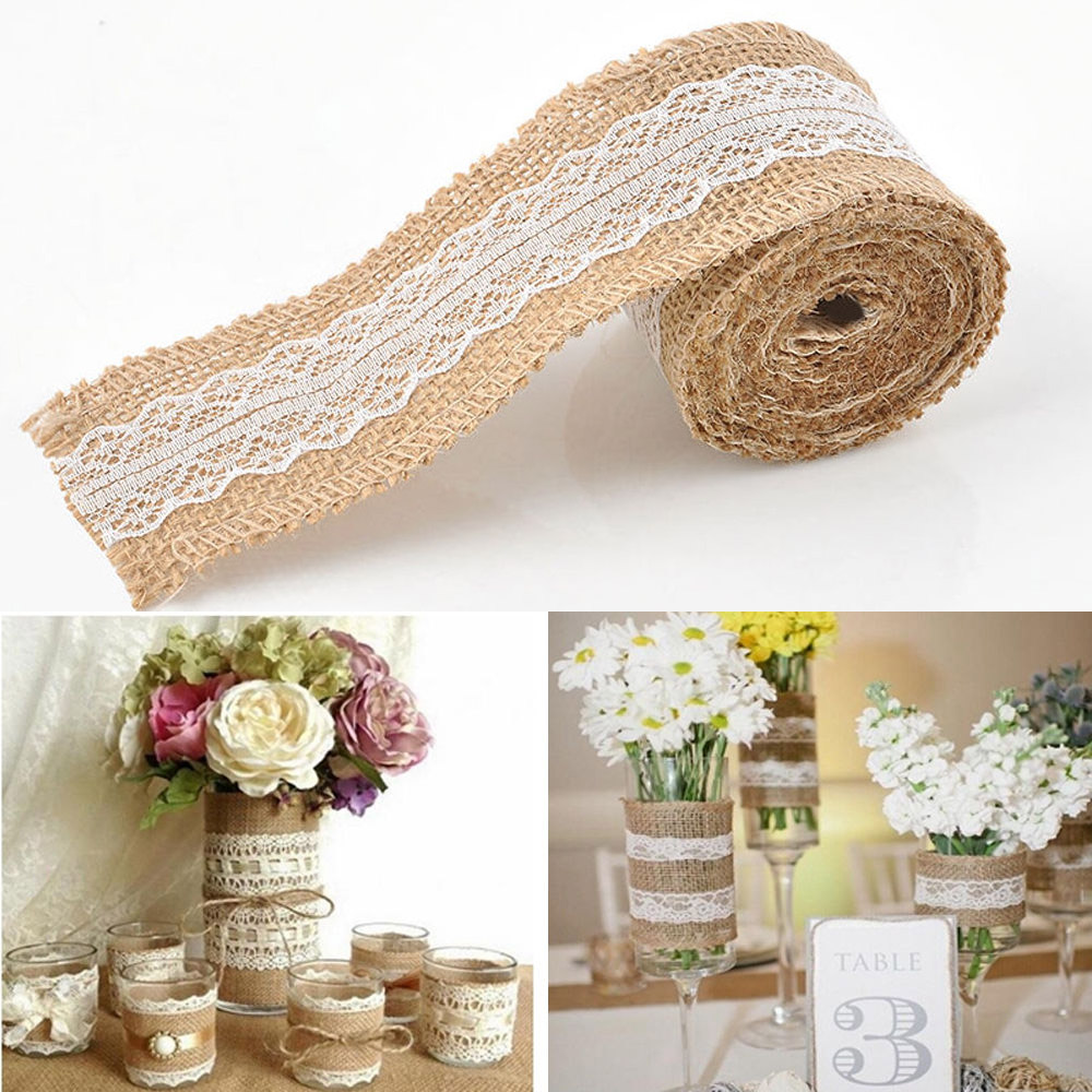2x 2m Vintage Lace Hessian Natural Burlap Jute Ribbon Roll Trims Tape Home Diy Rustic Decor