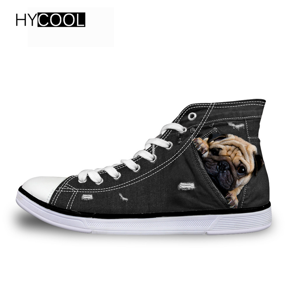 HYCOOL Children Canvas Shoes Girls Boys Kids Sneakers 2018 Baby Kids Running Shoes Kawaii 3D Pug Pattern Style Child Sport Shoes