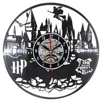 Harry Potter Wall Clock Modern Design Vinyl LP Record Clocks Quartz Black Hollow 3D Decorative Classic CD Wall Watch Home Decor