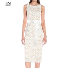 LZJ sexy party dress vestido de festa O collar lace perspective hollow leak back belt women dress summer clothing plus size L42