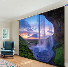 Waterfall Luxury 3D Blackout Curtains Drapes For Kitchen Living room Bed room Window Curtains Hotel/Office Wall Tapestry