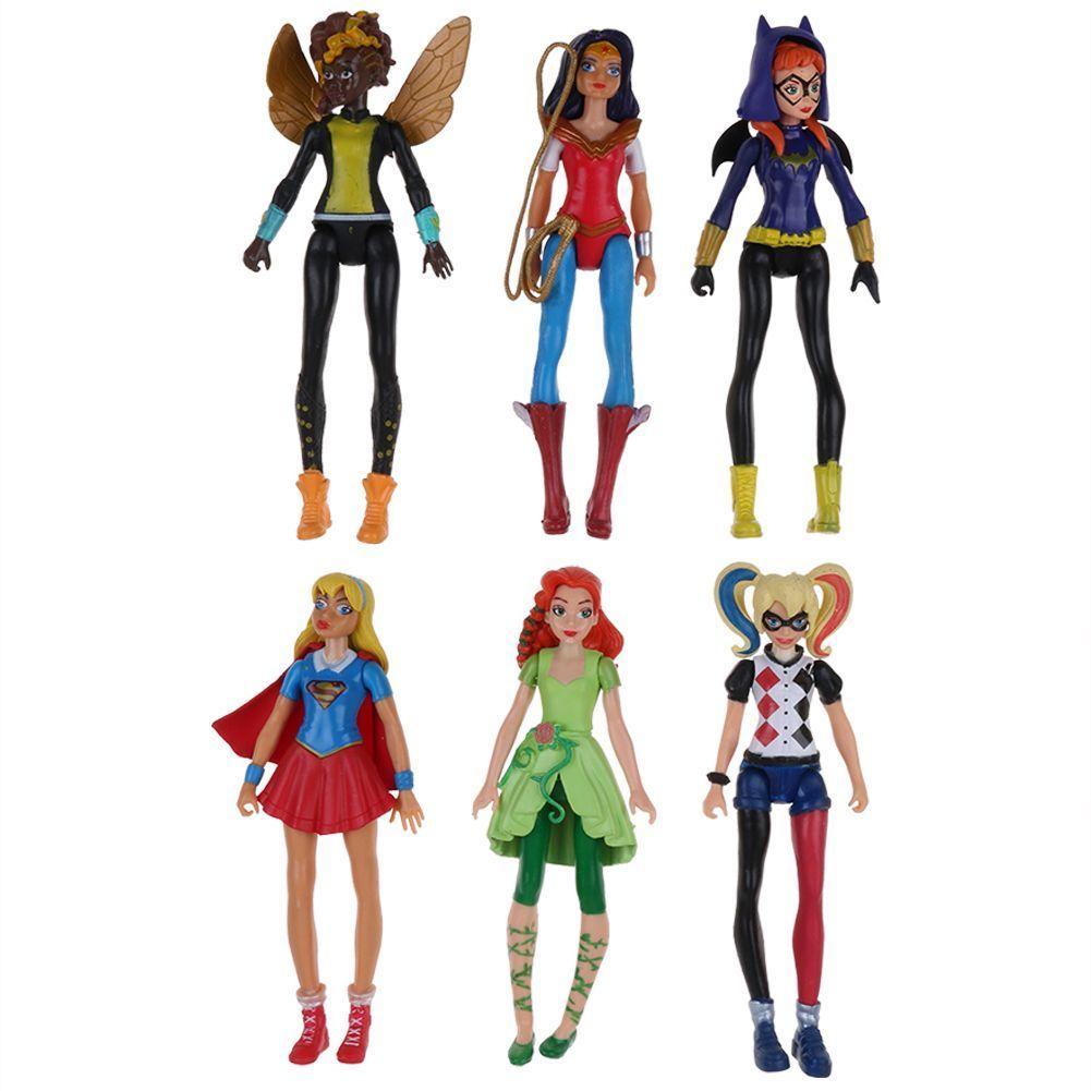 6 шт. фигурки Игрушечные лошадки Детские Подарки Игрушка ПВХ коллекции Рождество модель для DC Comics Harley Quinn Wonder Woman Batgirl герои