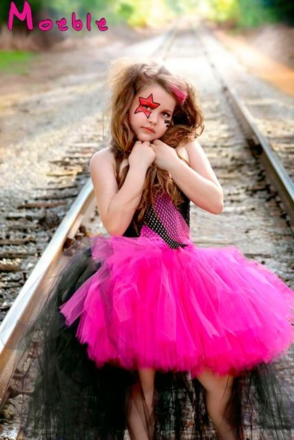 Hot Pink&black Children Girl Tulle Tutu Dress Rockstar