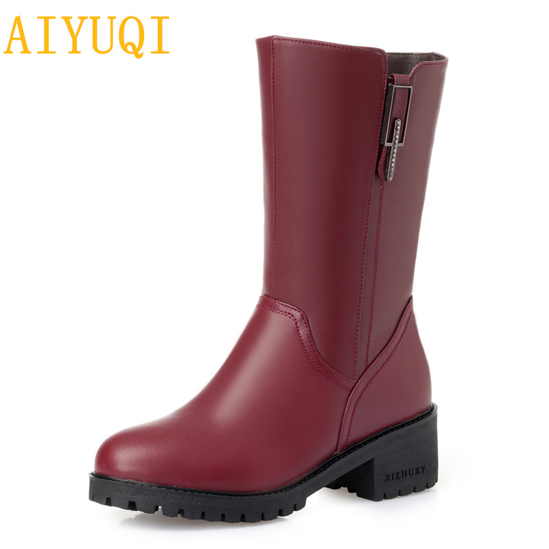 AIYUQI Women boots 2018 new genuine leather female motorcycle boots, fashion big size 41 42 43 red female winter boots shoes aiyuqi big size 42 100% natural genuine leather female flat shoes 2018 spring new ladies shoes comfortable nurse shoes female