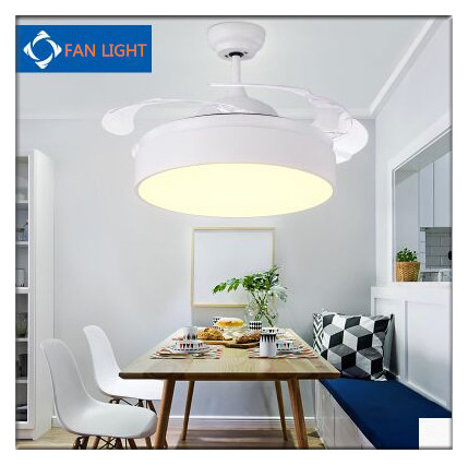 Modern European Simple Round Shaped LED Ceiling Fan Lights with Foldable Invisible Blades