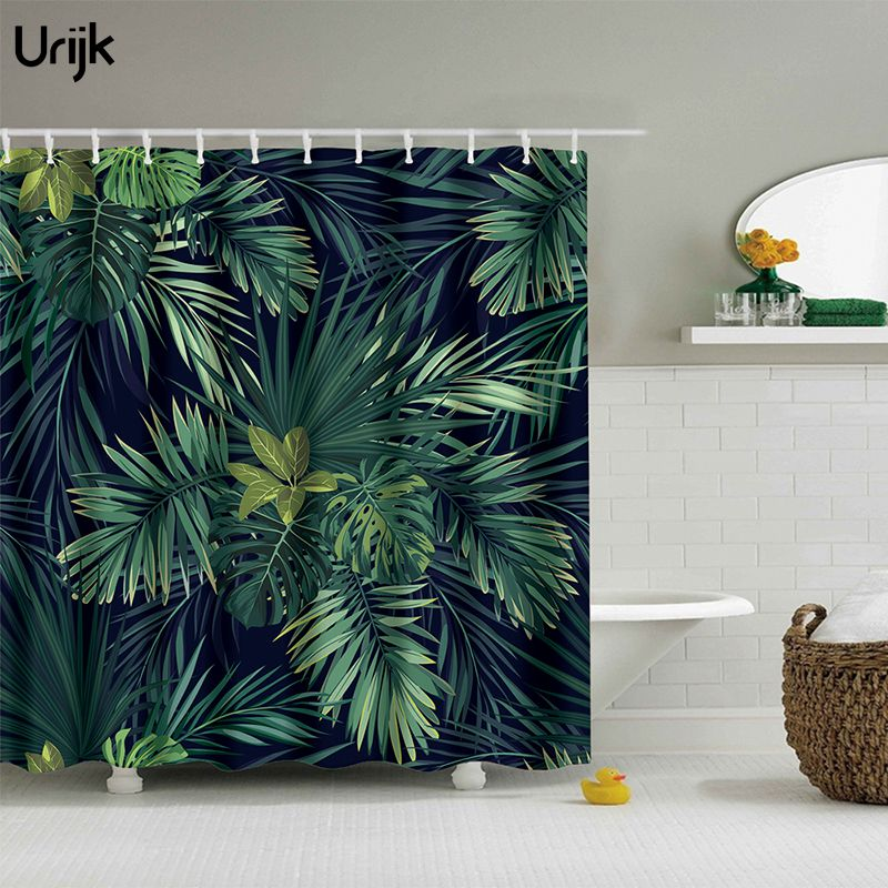 Urijk Waterproof Fabric Shower Curtain Bathroom Decorative Bath Curatins Green Leaves Print Polyester Curtain with 12PC Hooks