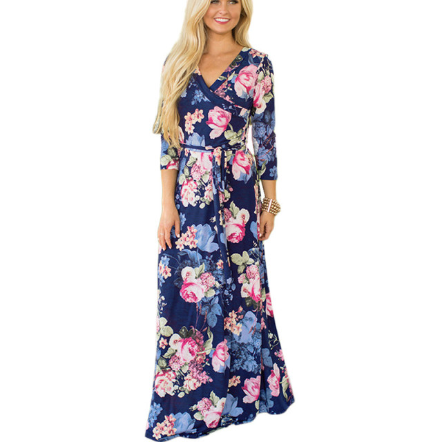 Women Summer Floral Print Maxi Dress Boho Style Long Beach Dress Evening Party Long Bandage Bodycon Dress Plus Size Vestidos