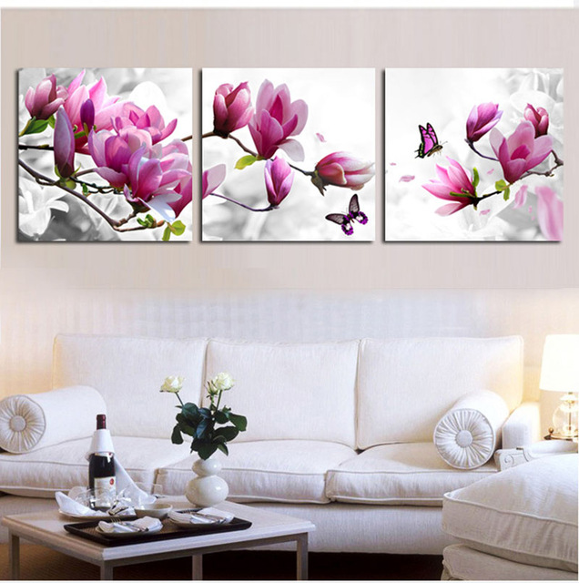 Triptych diy Diamond Embroidery Drill diamond Painting Wall Art orchids Decoration pictures on the wall sitting room 3pcs Crafts