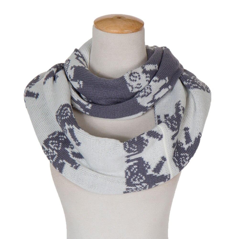 ⊱Elefante patrón bufanda de punto grueso collar mujeres invierno ...