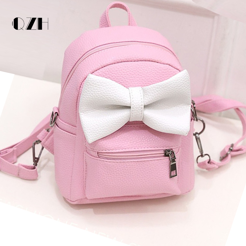 QZH 2017 Leather Girl Cute Backpack Small School Mini Bow Teenagers Girls Backpacks Women Kids Mochila Escolar Feminina Pink Bag backpacks to school pink bow cute backpacks college schoolbag backpack girls large travel women s backpack bag bolsa mochila