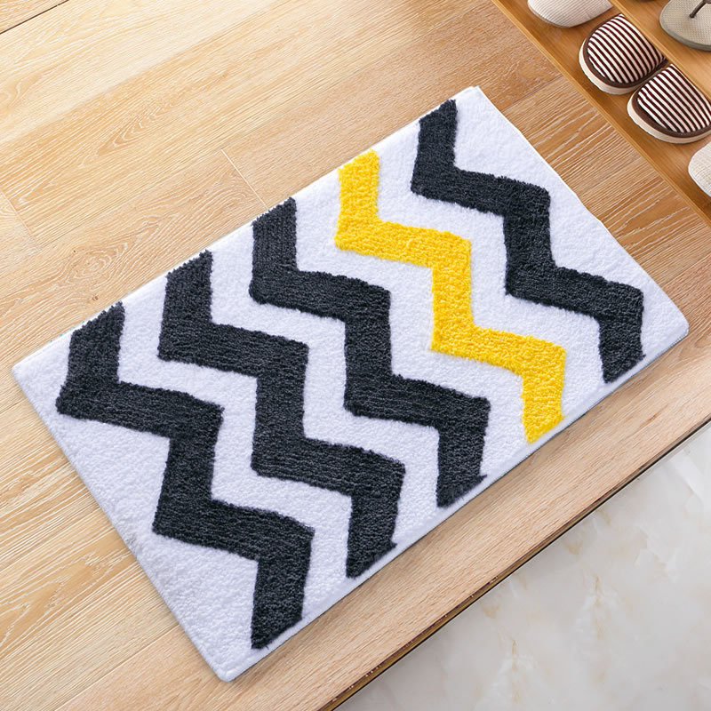 Absorbent Black Yellow Chevron Striped Doormats Antiskid