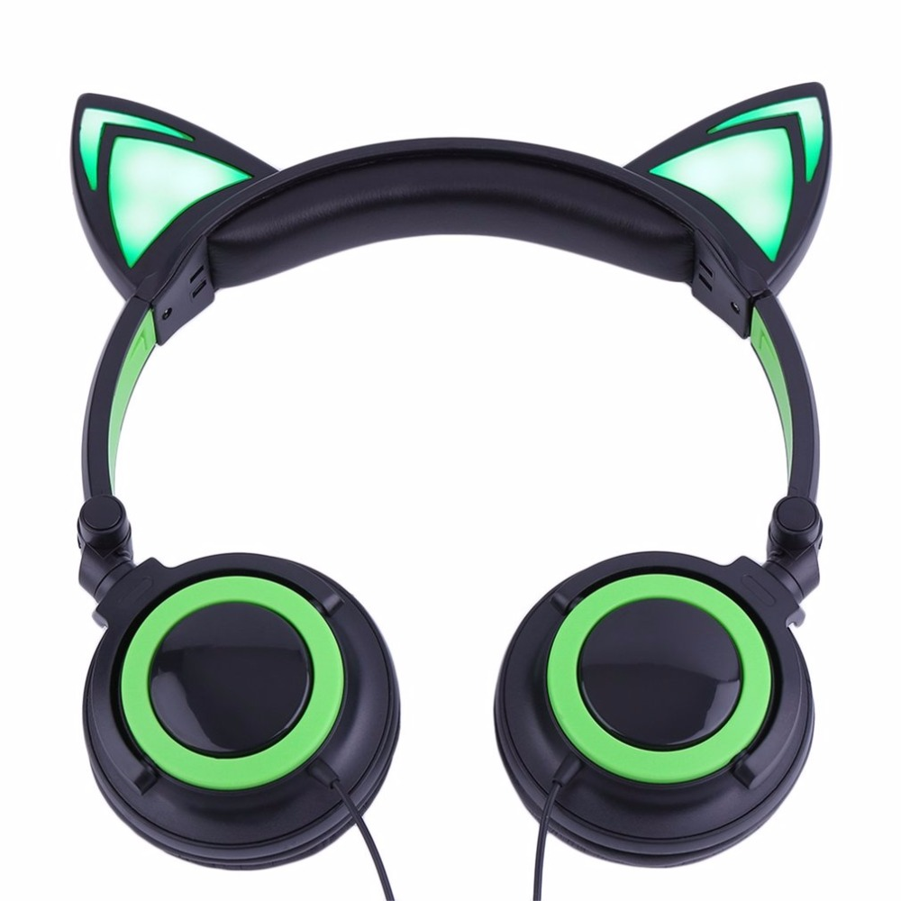LESHP Flashing Glowing LED Cat Ear Headphones Folded Gaming Headset Wired earphones For Mobile Phone PC Laptop for kids Girl foldable cat ear headphones gaming headset earphone with glowing led light for phone computer best halloween gift for girls kids