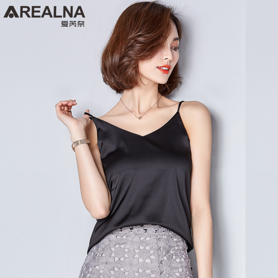 2018 Fashion Summer Autumn Style Imitation Silk Women   Blouse     Shirt   Sexy White Gray Black Tops Party Girls body Blusas   Shirts