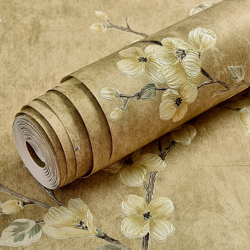 Retro 3D Embossed Flower Effect Self adhesive Art Wallpaper Roll For Living Room Wall Sticker Vinyl PVC Wall Paper 3D Home Decor