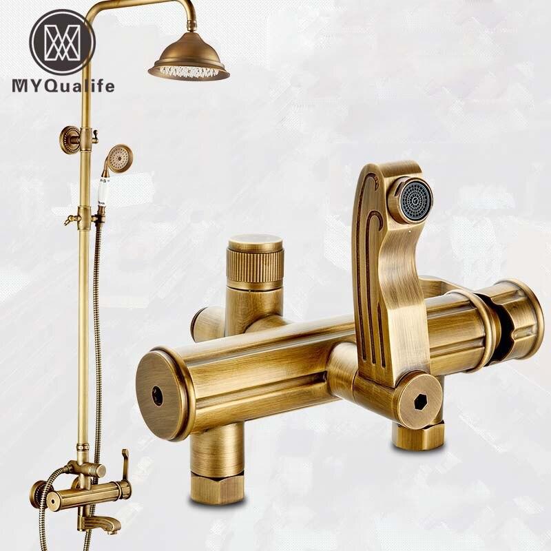 High-end 8 Rainfall Shower Bath Shower Faucet Set Single Handle In-wall Bathroom Rotate Tub Tap Shower Mixer Taps