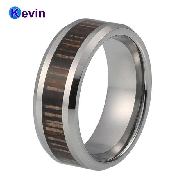 Dark Wood Inlay Tungsten Ring Carbide Wedding Band For Men And Women